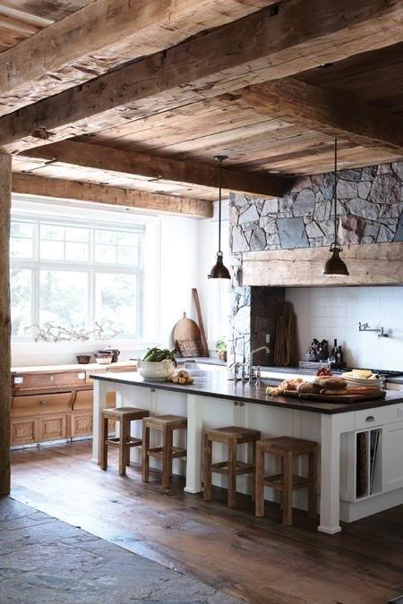Drewno Oraz Kamień W Aranżacji Kuchni Z Wyspą Zdjęcie W Serwisie