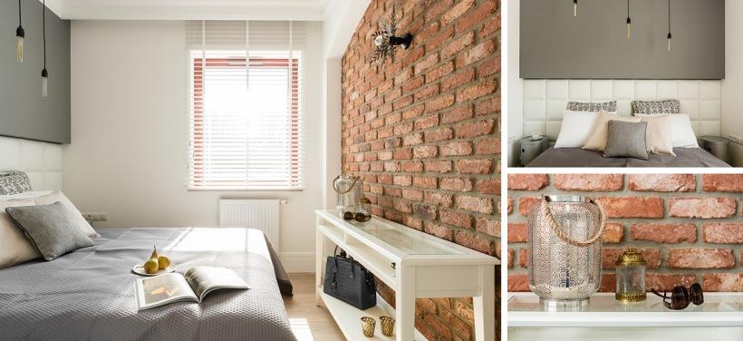 Sypialnia Ze ścianą Z Czerwonej Cegły Zdjęcie W Serwisie