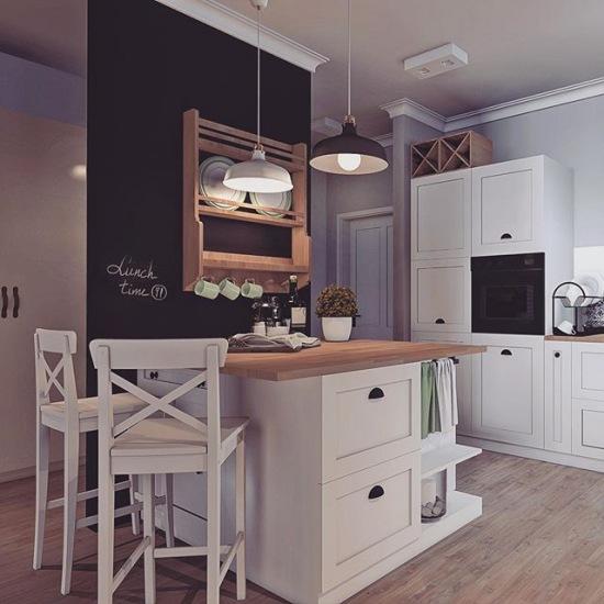 Kuchnia Z Białymi Szafkami I Farbą Tablicową Zdjęcie W