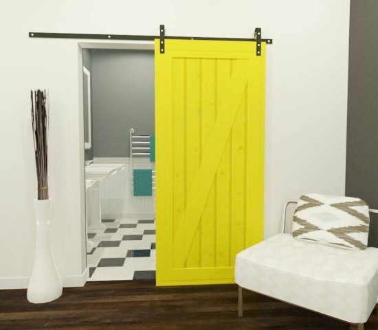 żółte Wrota Drzwi Przesuwne Do łazienki Zdjęcie W