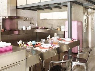 Tag Industrialna Kuchnia Z Różowymi Dodatkami