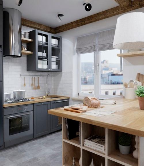 Aranżacja małego mieszkania z oryginalną dekoracją drewnem i szarą kuchnią
