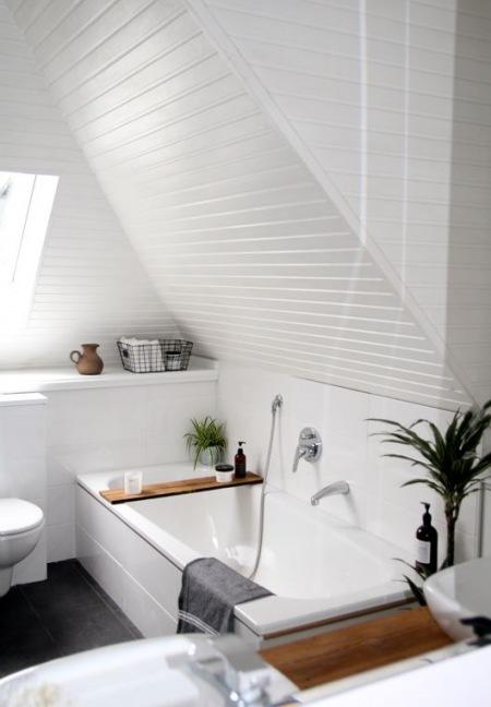 Biała łazienka Na Poddaszu Z Dekoracją Roślinami Zdjęcie W