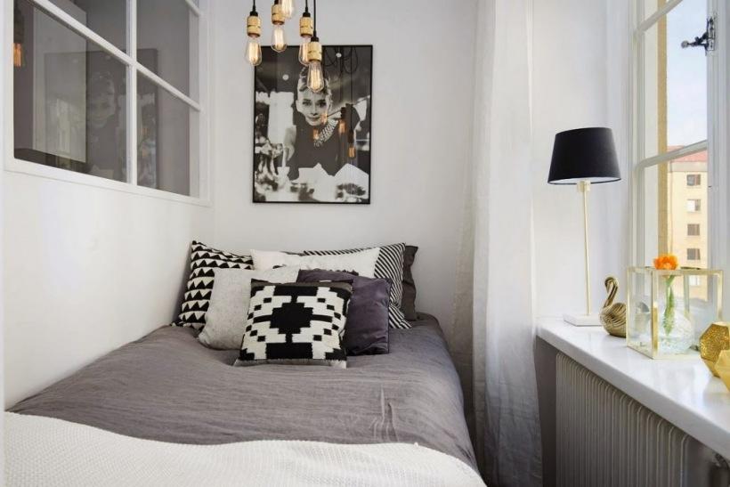 Alkowa W Małym Mieszkaniumini Sypialnia Dla Zdjęcie W