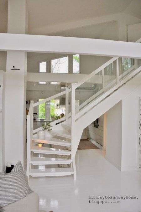 Białe Schody W Dwupoziomowym Domu Zdjęcie W Serwisie