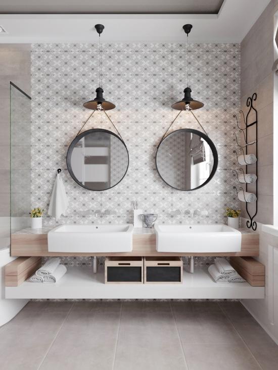 Symetryczna Aranżacja łazienki Z Dwoma Umywalkami Zdjęcie