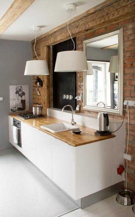 Wnętrza Z Cegły I Kamienia W Kuchni Salonie Zdjęcie W