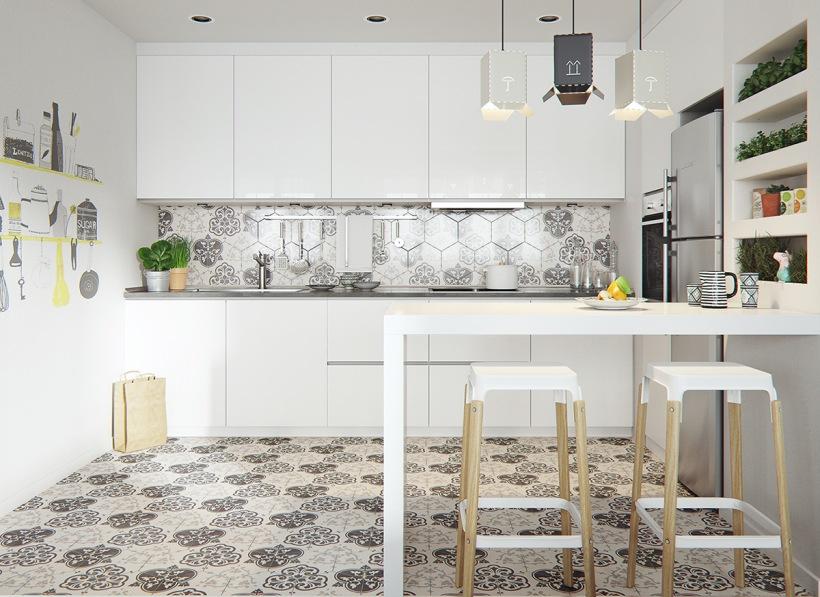 Biała Kuchnia W Stylu Skandynawskim Z Mozaiką Zdjęcie W