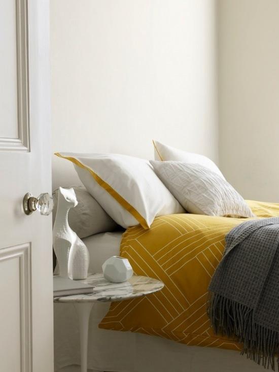 Biało żółta Sypialniażółty Kolor We Wnętrzachżółty