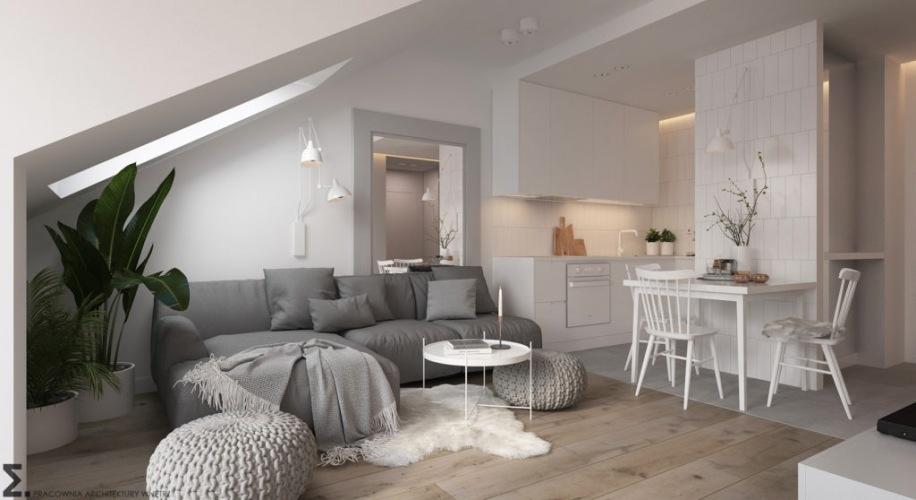 Projekt nowoczesnego mieszkania na poddaszu w biało-szarej palecie barw