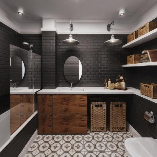 Jak Urządzić Czarną łazienkępłytka Cegielka Zdjęcie W