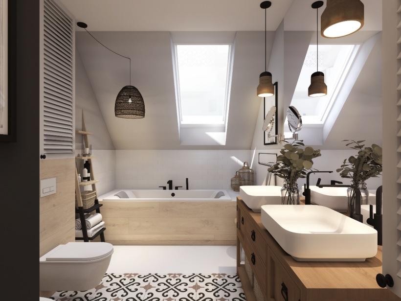 łazienka Zaaranżowana Na Poddaszu Z Wanną Zdjęcie W