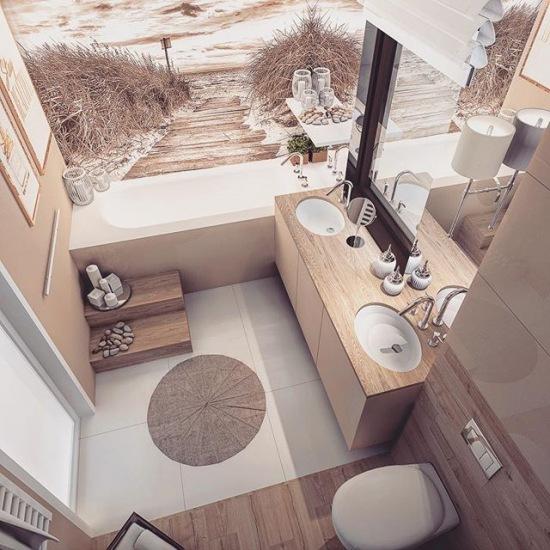 Aranżacja łazienki Z Dwoma Umywalkami I Fototapetą Zdjęcie
