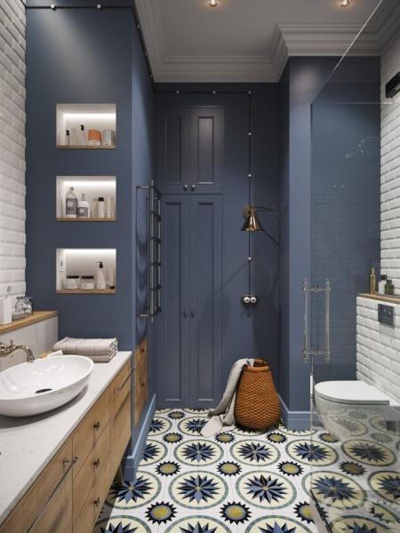 Podświetlane Półki W Granatowo Białej łazience Zdjęcie W