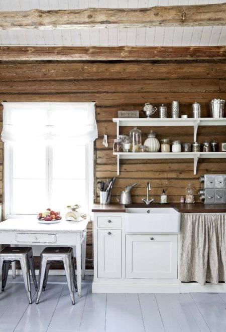 Drewniane ścianybiałe Półki I Szafki Skandynawskiebiały