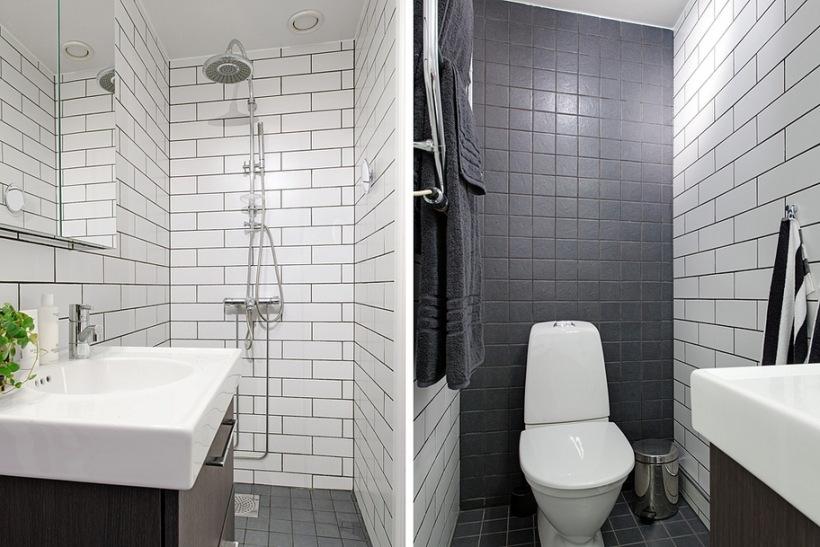 Białe I Czarne Kafle W łazience Zdjęcie W Serwisie