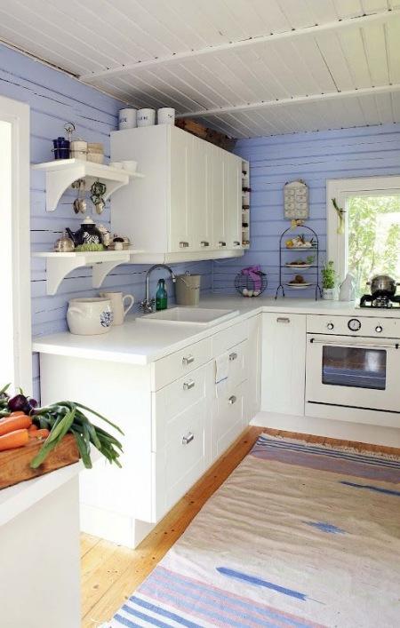 ściana Z Błękitnych Desek W Aranżacji Kuchni Zdjęcie W
