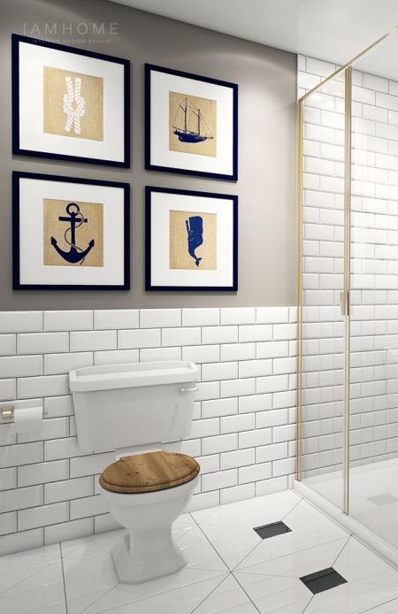 Morskie Grafiki Na Szarej ścianie W łazience Zdjęcie W Serwisie