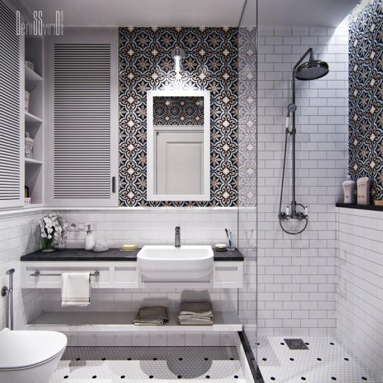 Wzorzyste Kafelki W Aranżacji Białej łazienki Zdjęcie W
