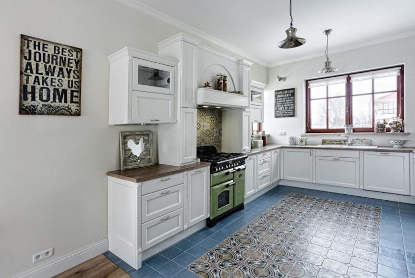 Wzorzyste Kafle Na Podłodze W Kuchni Zdjęcie W Serwisie