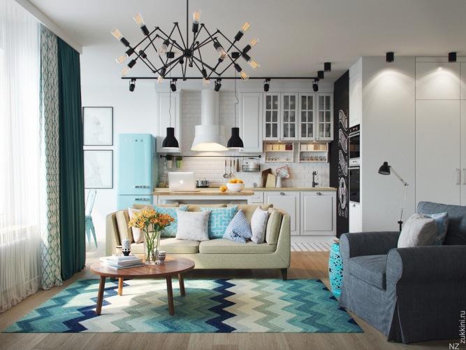 Oryginalny projekt mieszkania z błękitnymi dodatkami w eklektycznym stylu