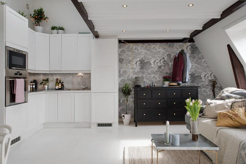 Otwarta Kuchnia Na Salon Z Antresolą Zdjęcie W Serwisie