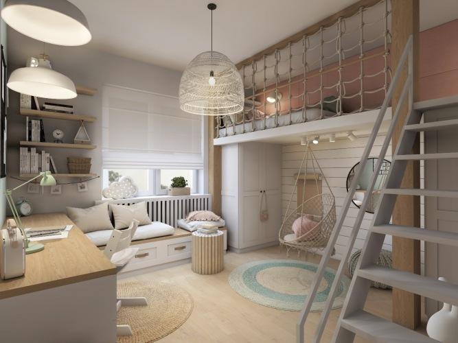 Wizualizacja pokoiku Melanii - białe deski, pastele, piętrowe łóżko i ławka pod oknem :)