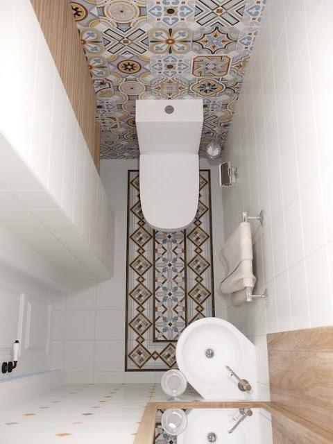 Bardzo mała łazienka ze wzorzystą ścianą i podłogą - zdjęcie w serwisie Lovingit.pl (51334)