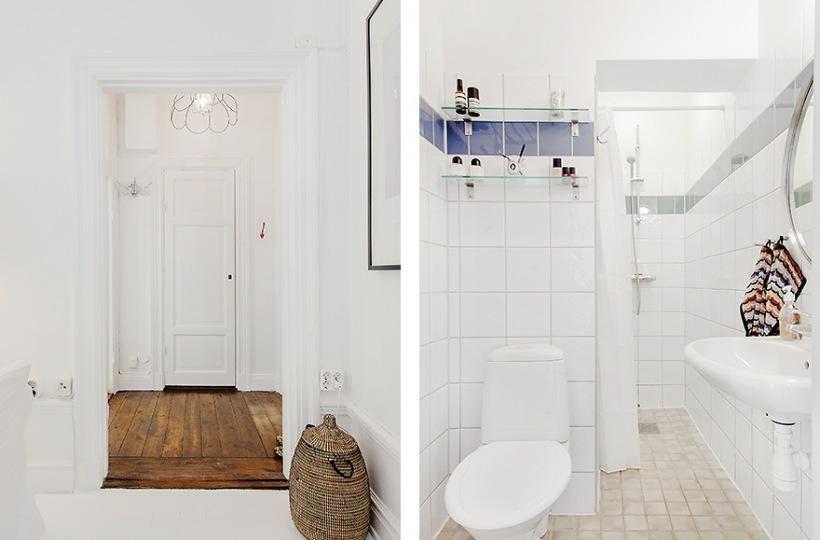 Biała łazienka,drewniana podłoga w korytarzu,skandynawskie ...
