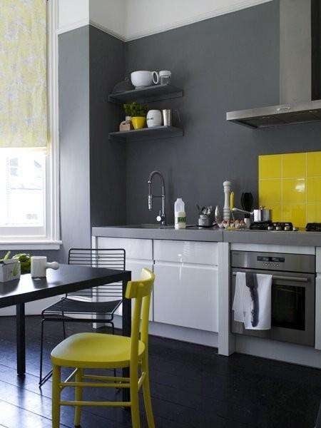 Szara kuchnia żółte dodatki  zdjęcie w serwisie Lovingit pl (31724) -> Kuchnia Dodatki Inspiracje