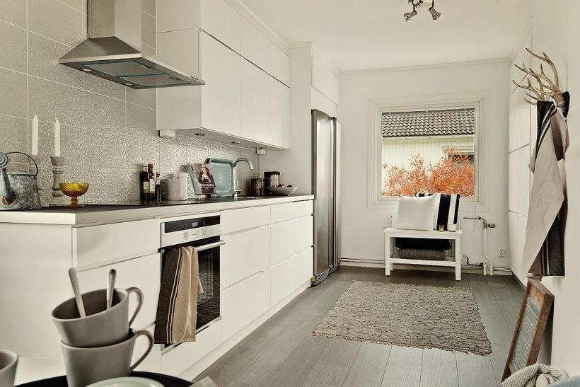 Biało szara kuchnia w nowoczesnym stylu  zdjęcie w