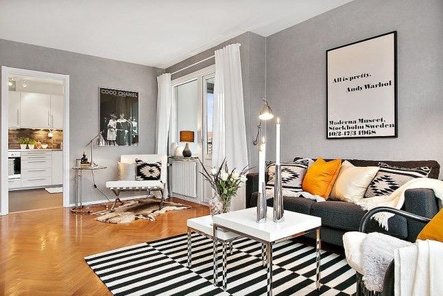 nowoczesny bia o szary salon skandynawski zdj cie w serwisie 27515. Black Bedroom Furniture Sets. Home Design Ideas