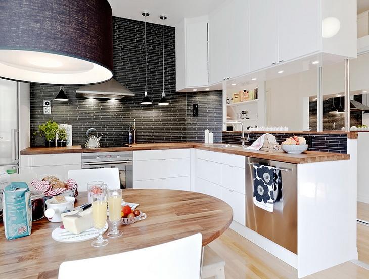 Ciemne płytki do białej kuchni  zdjęcie w serwisie   -> Waniliowa Kuchnia Jakie Plytki