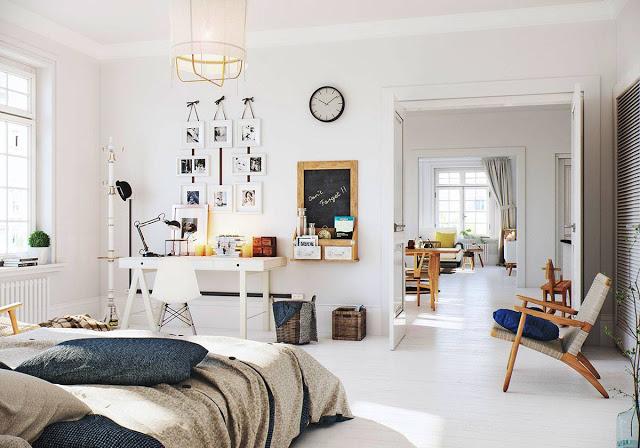 Kącik Biurowy W Sypialni W Stylu Skandynawskim Zdjęcie W