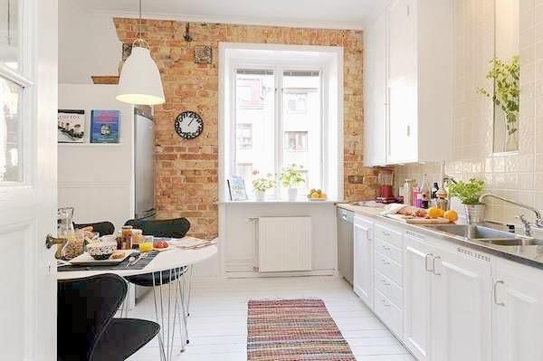 Aranżacja białej kuchni skandynawskiej z  zdjęcie w   -> Kuchnia Tapeta Cegla