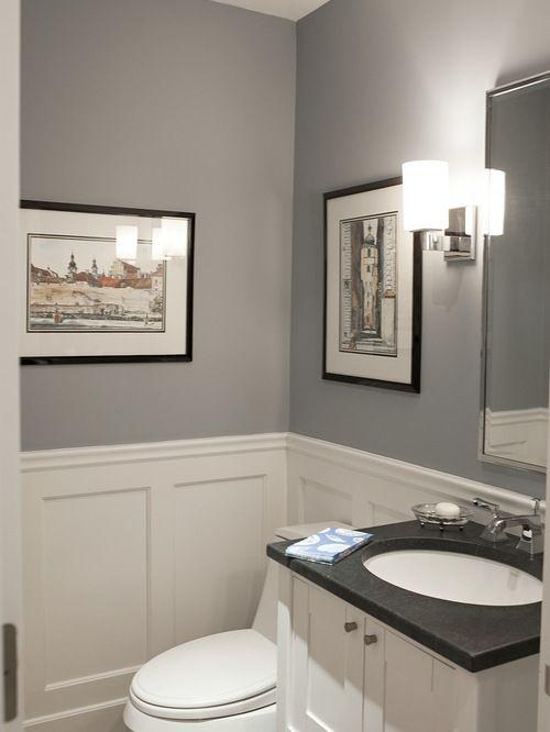 Szara łazienka Z Eleganckim Czarnym Blatem Zdjęcie W