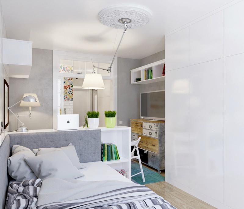 sufitowa lampa z wysi gnikiem w ma ym salonie zdj cie w ForComo Amueblar Un Loft De 35 Metros