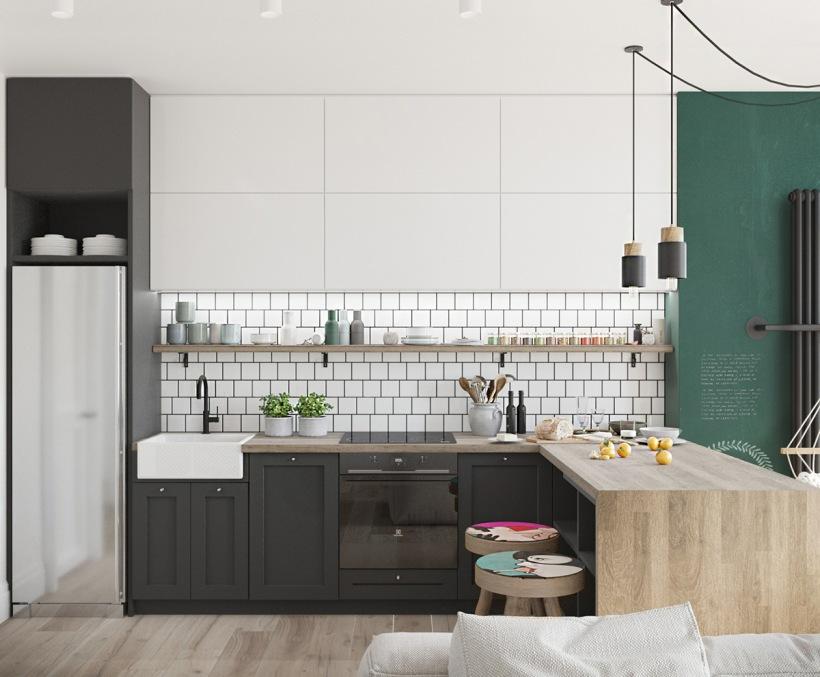 Biało czarna kuchnia z drewnem i zieloną ścianą  zdjęcie   -> Kuchnia Czarna Z Drewnem
