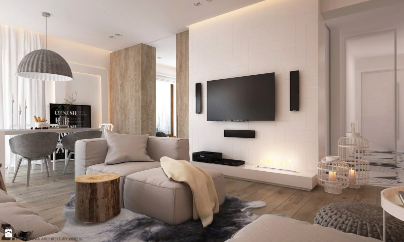 nowoczesna ściana telewizyjna w skandynawskim zdjęcie w