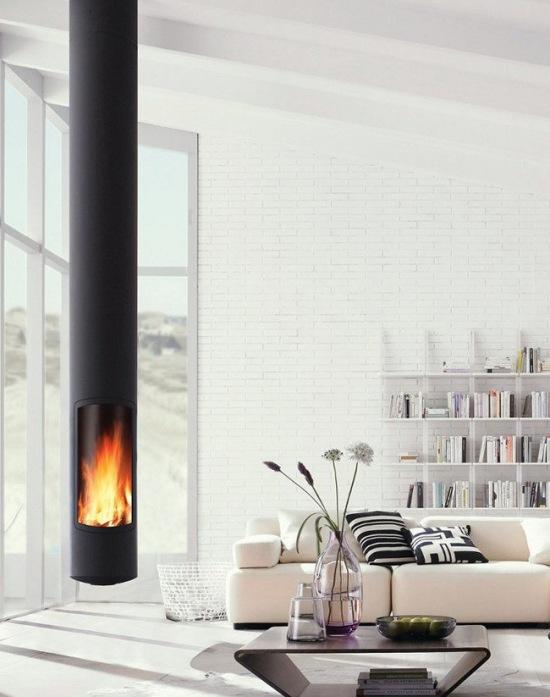 Wisz cy kominek eliwny tuba w salonie zdj cie w serwisie 48432 - Poele design contemporain ...