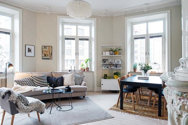 Aran acja salonu z jadalni w skandynawskim stylu - Objetos decorativos salon ...