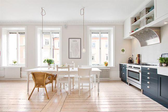 Biało Granatowa Kuchnia Bielone Deski Zdjęcie W Serwisie