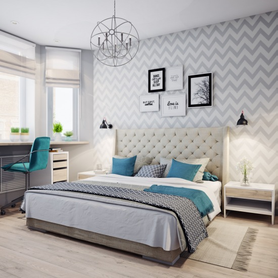Szara sypialnia z turkusowymi dodatkami - zdjęcie w serwisie Lovingit.pl (52548)