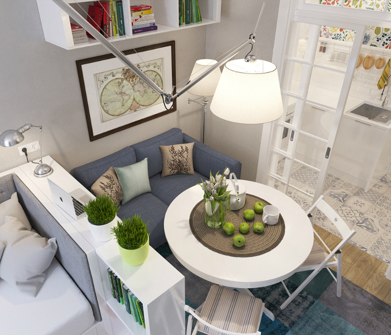 Jadalnia sypialnia i salon w jednym pomieszczeniu for Como decorar un estudio de 20 metros cuadrados