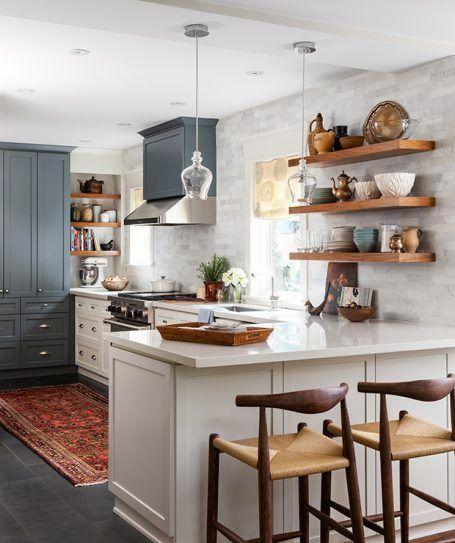75 Trendy Open Concept Kitchen Design Ideas: Drewniane Półki I Dodatki W Aranżacji Kuchni