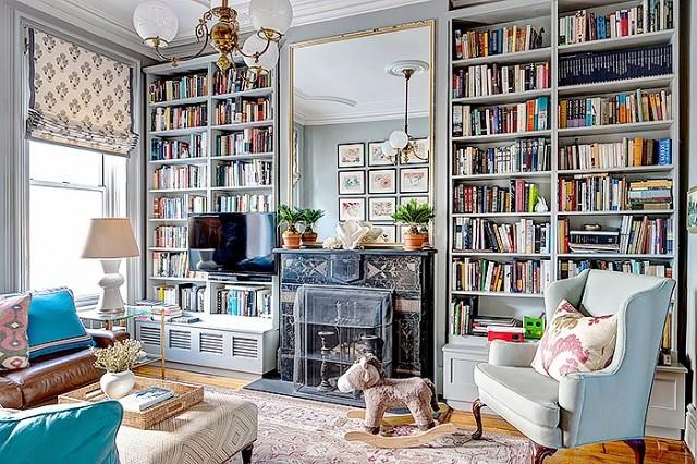 domowa biblioteka w salonie zdj cie w serwisie 50268. Black Bedroom Furniture Sets. Home Design Ideas