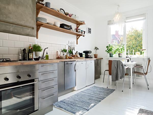 Projekt kuchni w bieli, czerni, szarym betonie  zdjęcie w  -> Kuchnia W Bloku W Bieli