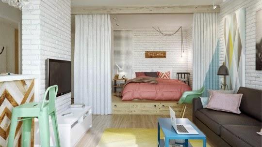 łóżko Na Podestach Z Szufladami Oddzielone Zdjęcie W