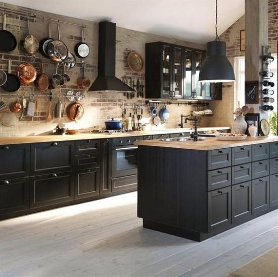 Drewno i czerwone ceg y w czarnej kuchni z wysp zdj cie w serwisie 51197 - Wastafels lapeyre ...