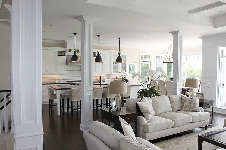 Otwarty salon na kuchnię i jadalnie w klasycznym  zdjęcie   -> Salon Kuchnia Razem